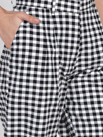 Fabnest women handloom black and white check casual pant-Pants-Fabnest