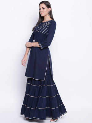 Load image into Gallery viewer, Fabnest womens cotton navy kurta and tiered sharara set with silver gota work.-Sharara Set-Fabnest