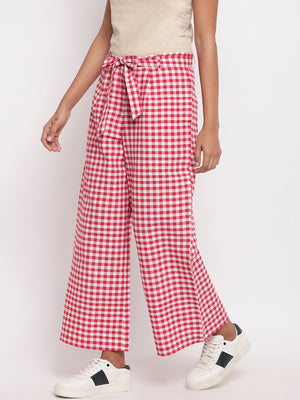 Load image into Gallery viewer, Fabnest Women Handloom Cotton Red and White Check Palazzo Pant-Pants-Fabnest