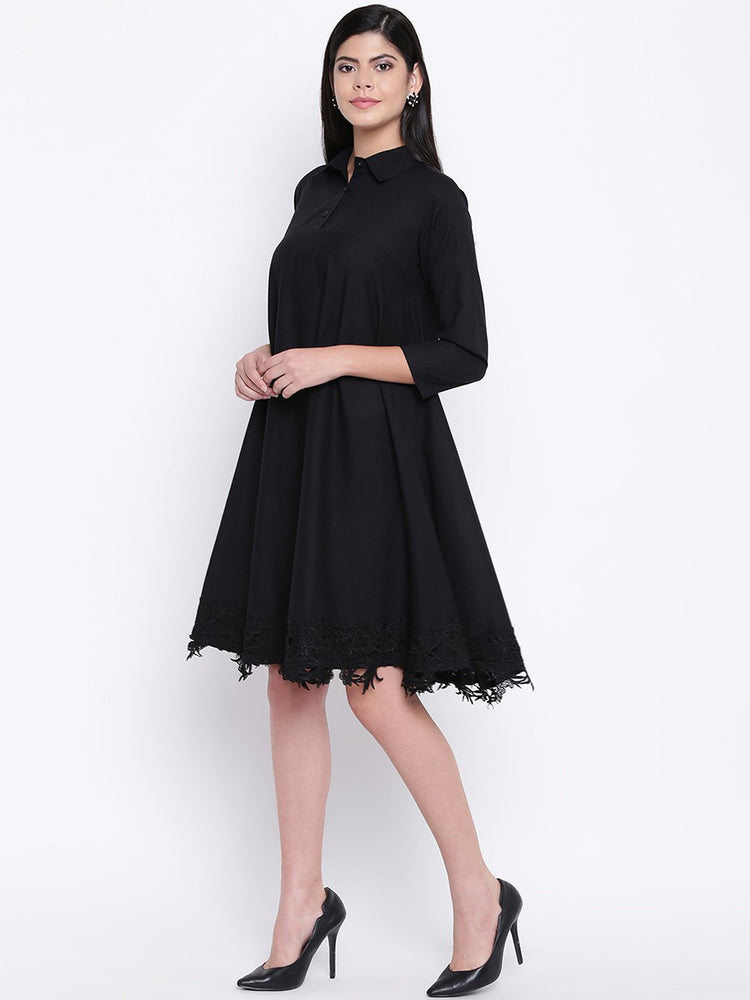 Load image into Gallery viewer, Fabnest women black cotton flowy dress with black lace at bottom hem-Flowy Dress-Fabnest