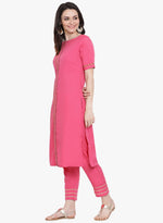 Pink crepe straight kurta and pant set with gota inserts-Kurta Set-Fabnest