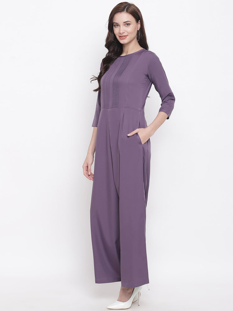 Fabnest womens crepe dull lilac jumpsuit with with pintucks at yoke-Jumpsuit-Fabnest