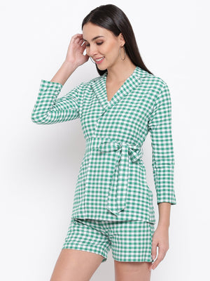 Load image into Gallery viewer, Green and white gingham check tie up shirt/ jacket-Jacket-Fabnest