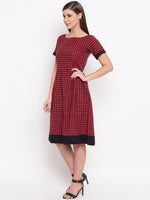 Fabnest womens Black and red check dress-Dresses-Fabnest