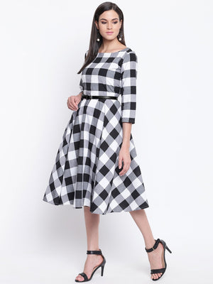 Load image into Gallery viewer, Fabnest womens black and white big check fit and flare dress belt not included-Dresses-Fabnest