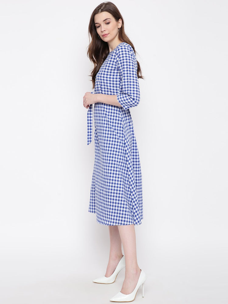 Load image into Gallery viewer, Fabnest Womens blue/white handloom cotton check dress with belt-Dress-Fabnest