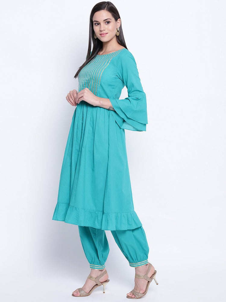 Fabnest womens teal ethnic kurta and harem pant set with flounce sleeves, gathers at waist and frill at bottom hem with gota inserts.-Kurta Set-Fabnest