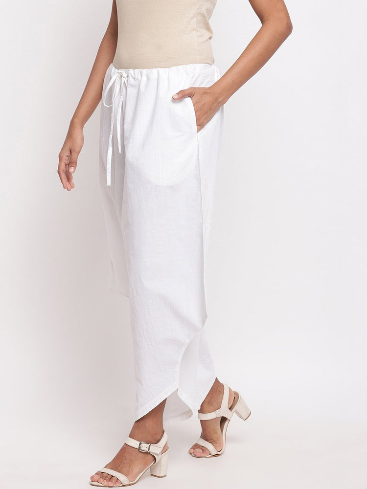 Load image into Gallery viewer, Fabnest Women Asymmetrical White Cotton Pant-Pants-Fabnest
