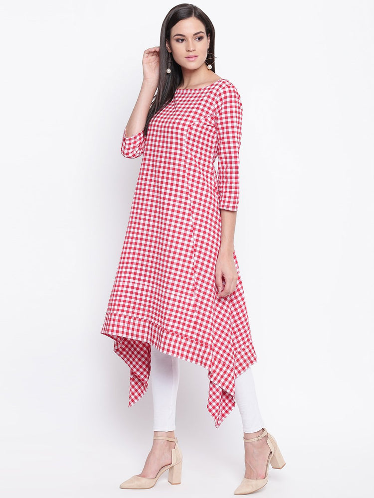 Fabnest womens cotton Red and white gingham check assymetrical hem kurta-Kurta-Fabnest