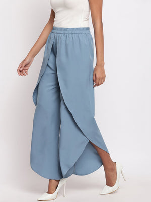 Load image into Gallery viewer, Fabnest Women's Crepe Grey Overlapping Layered Pants-Pants-Fabnest