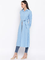 Fabnest womens cotton handloom light blue and white gingham tunic with front slit and side tie up.-Tunics-Fabnest