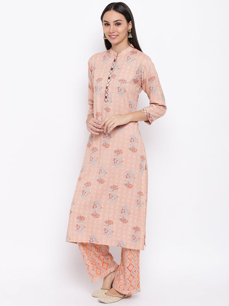 Fabnest women rayon peach printed kurta and pant set with thread detailing on placket and cuff.-Ethnic Set-Fabnest