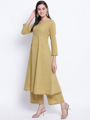 Load image into Gallery viewer, Fabnest womens olive green flared kurta and straight sharara set with antique gold gota edging.-Sharara Set-Fabnest
