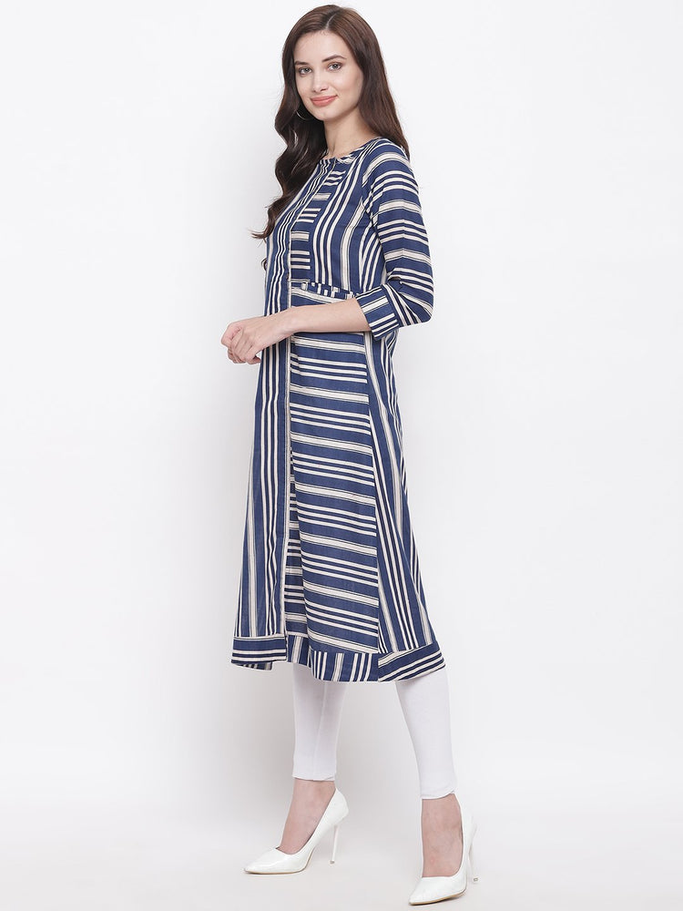 Fabnest womens cotton blue and off white stripe kurta with horizontal and vertical placements of stripes. And side placket with wooden buttons.-kurta-Fabnest