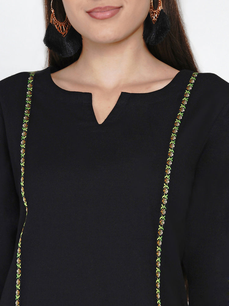 Black cotton Princess seam kurta embellished with a jacquard lace-Kurtas-Fabnest