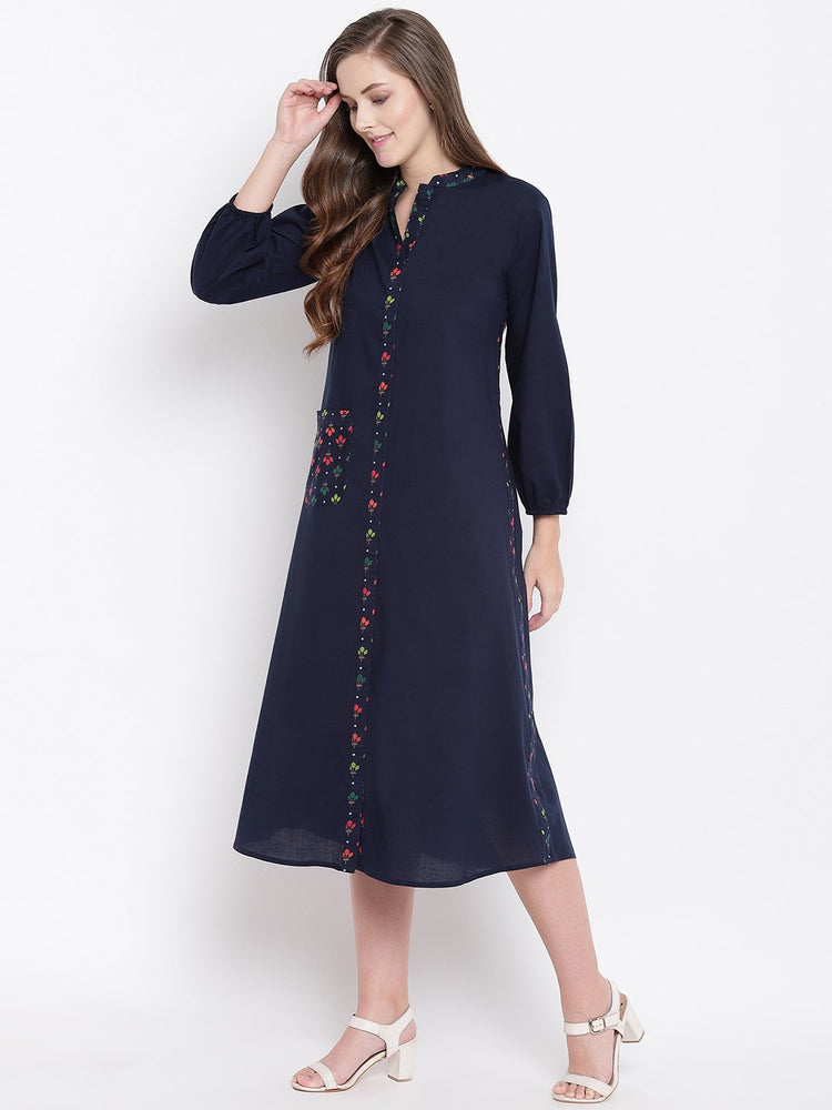 Load image into Gallery viewer, Fabnest womens indigo cotton dress/kurta with print inserts-Dress-Fabnest