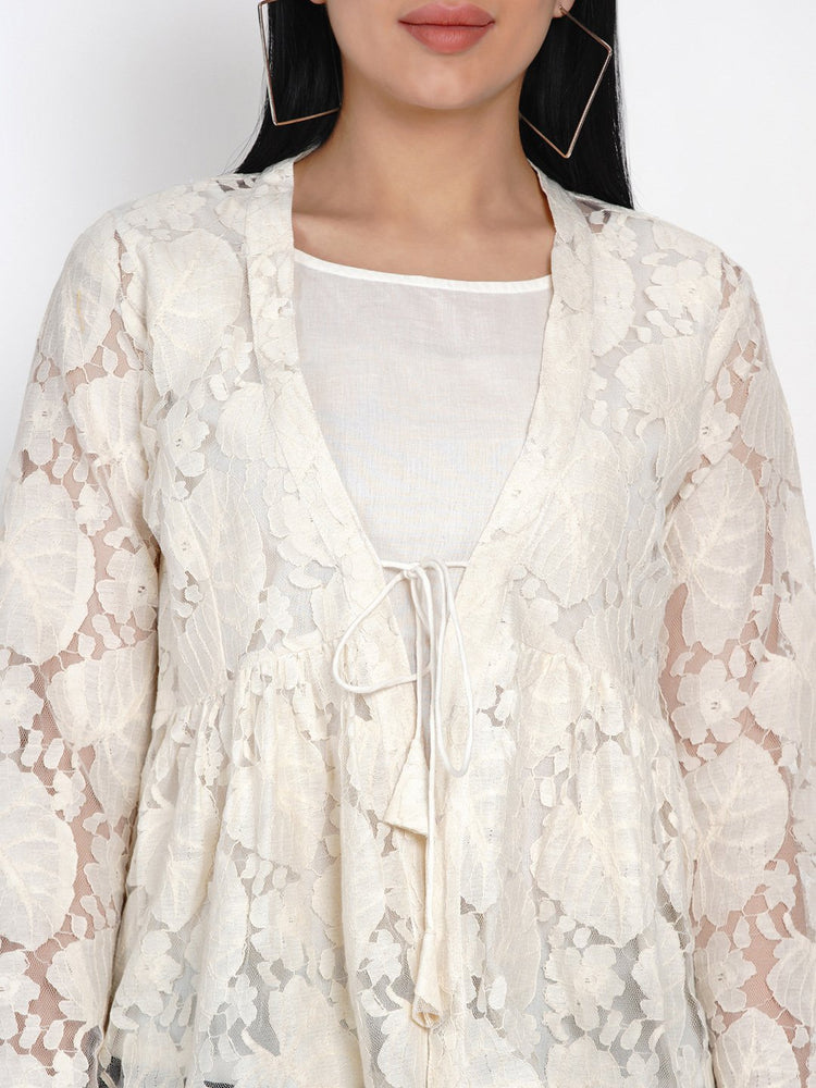 Load image into Gallery viewer, Fabnest Womens Off White Lace Top With Front Tie And Cotton Lining-Top-Fabnest