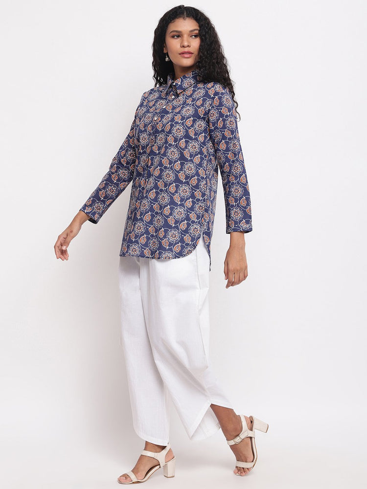 Fabnest womens cotton indigo printed collared tunic with assymetrical white cotton pant-Western Wear-Fabnest