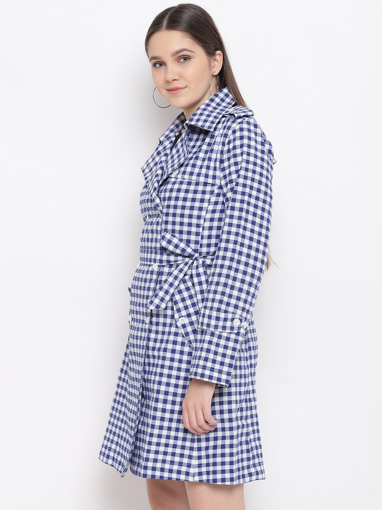 Fabnest Womens Cotton Handloom Two-Tone Blue&White Check Long Trench Coat-Coat-Fabnest