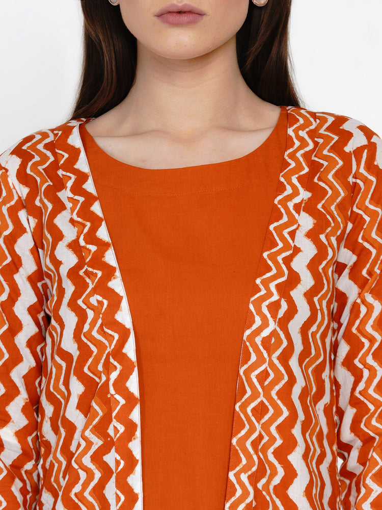 Fabnest Women Rust Chevron Cotton Cape-Cape-Fabnest
