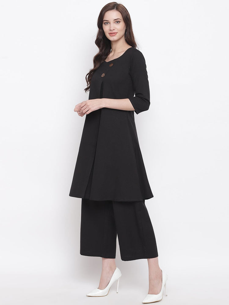 Load image into Gallery viewer, Fabnest womens cotton flex black A line kurta with straight pants-Kurta Pant Set-Fabnest