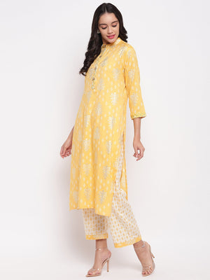 Load image into Gallery viewer, Fabnest women rayon lime yellow printed kurta and pant set with thread detailing on placket and cuff.-Kurta /Pant-Fabnest