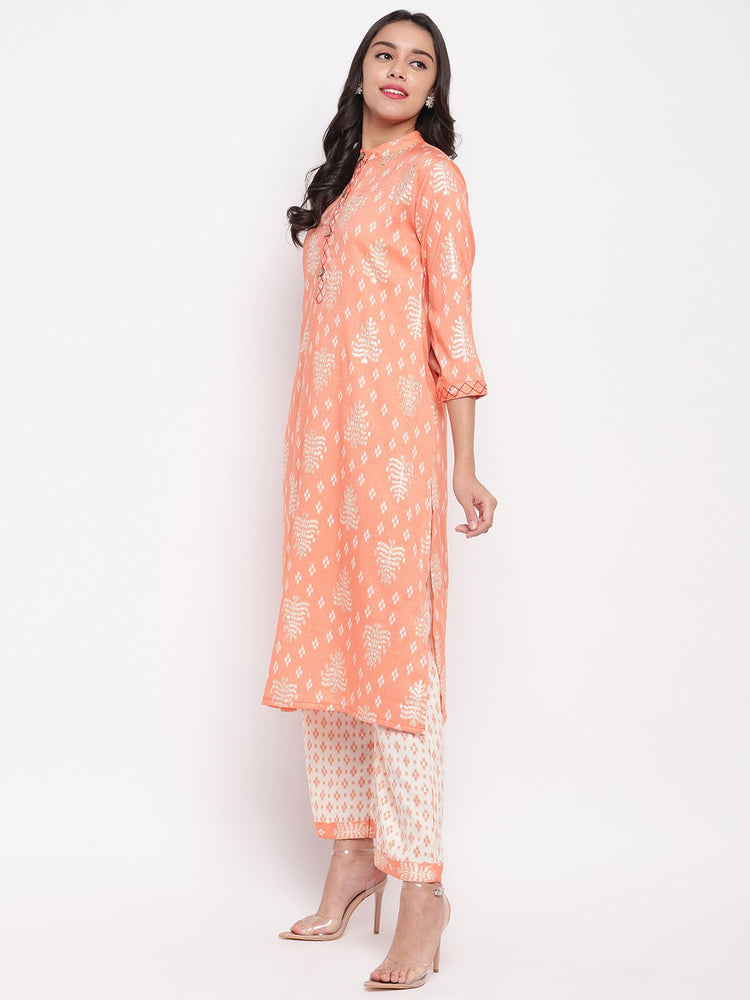 Fabnest women rayon peach printed kurta and pant set with thread detailing on placket and cuff.-Kurta Palazzo Set-Fabnest