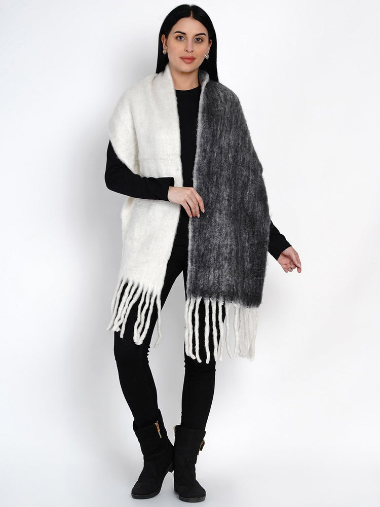 Load image into Gallery viewer, Fabnest Women Wool Blend Double Sided Black And White Winter Scarf-Scarf-Fabnest