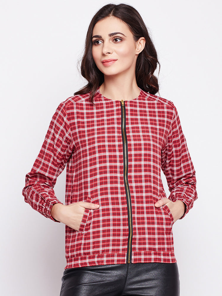 Womens Cotton Red Plaid Bomber Jacket-Jacket-Fabnest