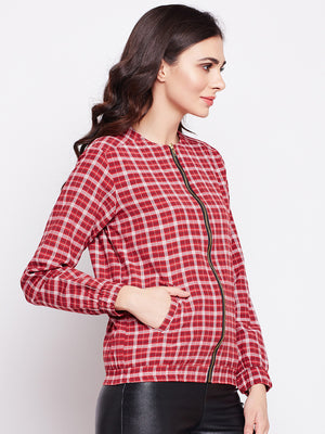 Load image into Gallery viewer, Womens Cotton Red Plaid Bomber Jacket-Jacket-Fabnest