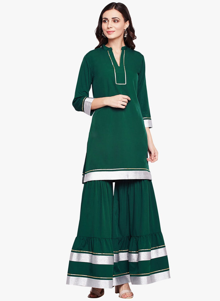 Fabnest womens green crepe sharara set with silver and gold gota accents-Etnics wear-Fabnest