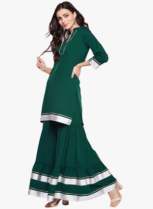 Load image into Gallery viewer, Fabnest womens green crepe sharara set with silver and gold gota accents-Etnics wear-Fabnest
