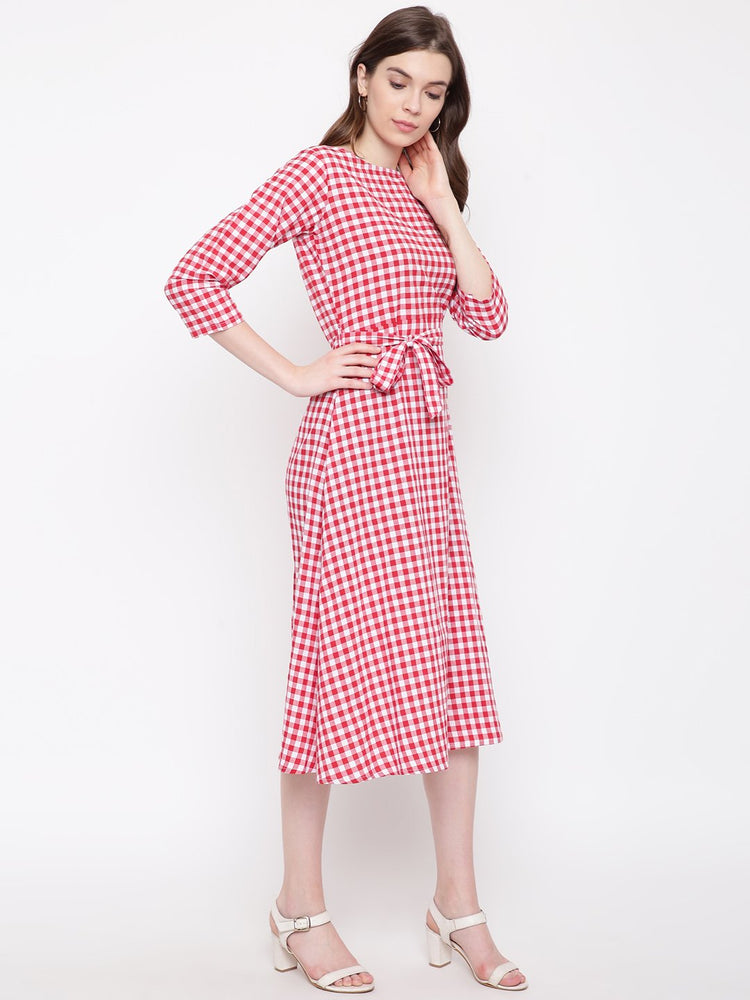 Fabnest Womens Handloom cotton red/white check dress with belt-Dress-Fabnest