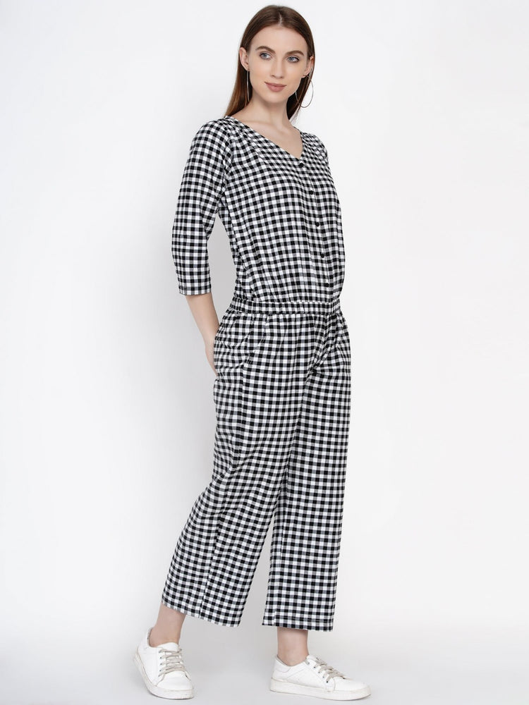 Fabnest women handloom cotton black and white gingham check button down jumpsuit-Jumpsuit-Fabnest