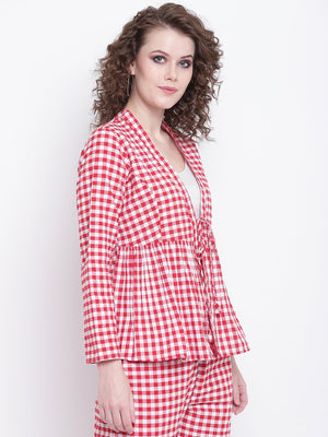 Load image into Gallery viewer, Fabnest womens handloom cotton red and white check peplum short shrug with red pants-Jacket Set-Fabnest