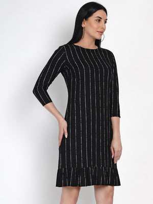 Load image into Gallery viewer, Fabnest Womens Black Rayon White Stripe Dress With Frills At Bottom-Dress-Fabnest