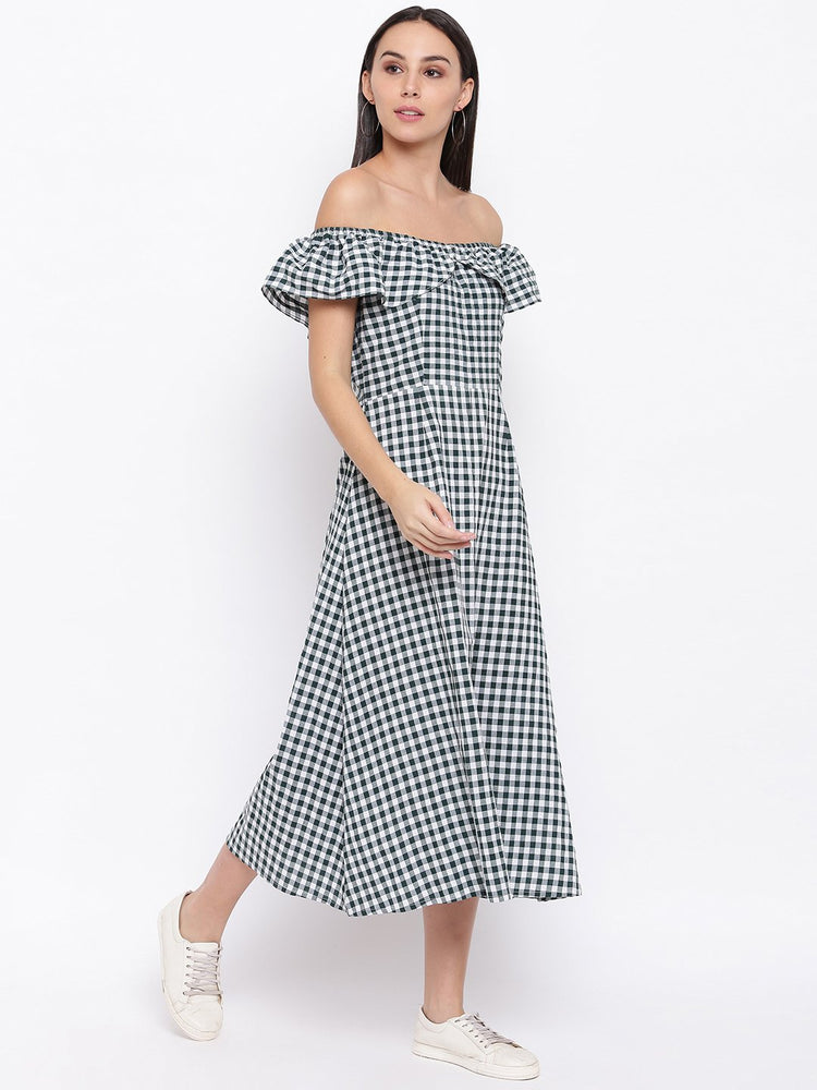 Load image into Gallery viewer, Fabnest womens cotton handloom green and white gingham off shoulder dress-Check Dress-Fabnest