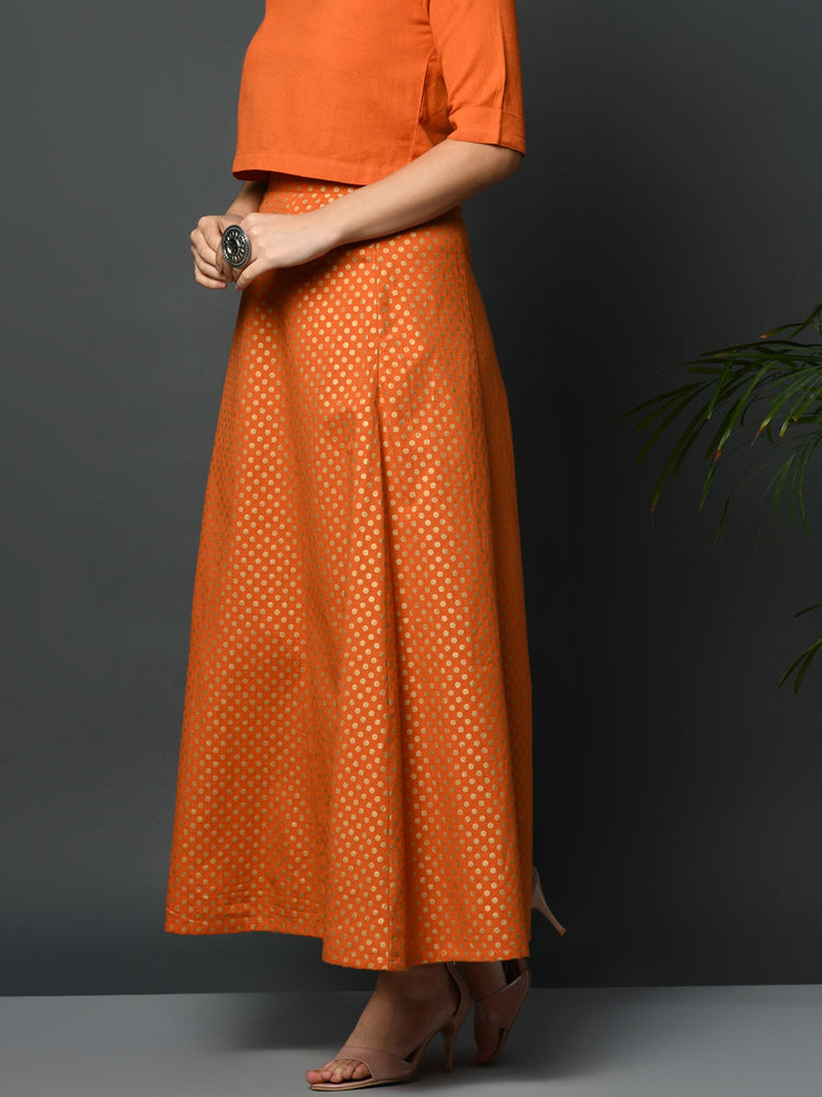 Fabnest women orange flex A line skirt with khadi polka print-Long Skirt-Fabnest