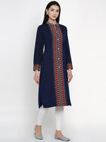 Fabnest Women Winter Acrylic Navy Self Design Kurta-Kurta-Fabnest