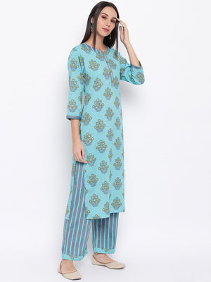 Load image into Gallery viewer, Fabnest womens rayon light blue printed pant and kurta set with round neck and wooden buttons with stripe pants.-Kurta Set-Fabnest