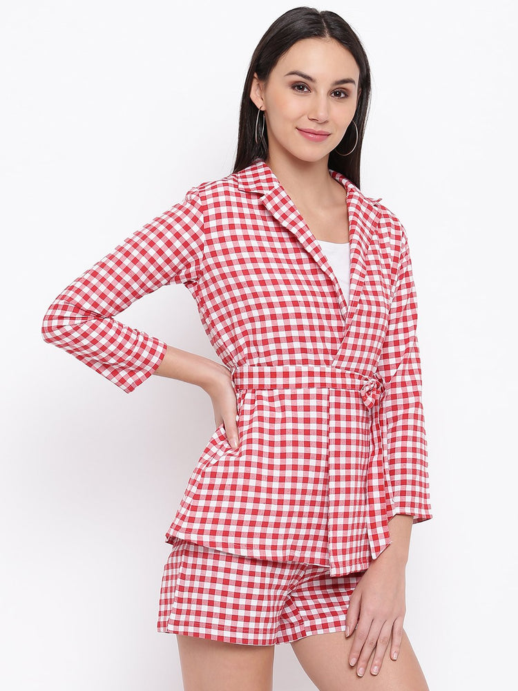 Load image into Gallery viewer, Fabnest Womens Cotton Handloom red and white gingham check tie up shirt/ jacket-Check Jacket-Fabnest