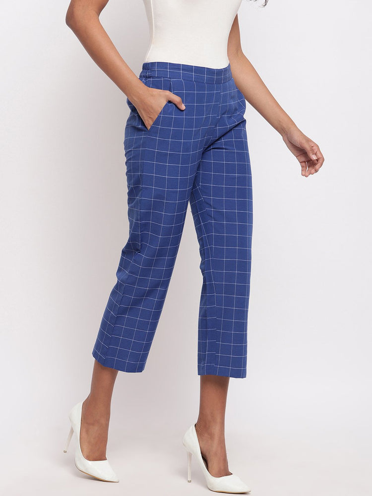 Load image into Gallery viewer, Fabnest Women's Handloom Cotton Blue Window Check Straight Pant-Pants-Fabnest