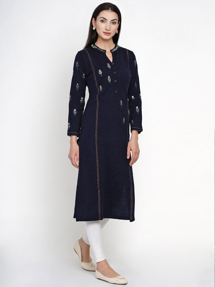 Fabnest Women Winter Acrylic Navy Embroidered Kurta-Kurta-Fabnest