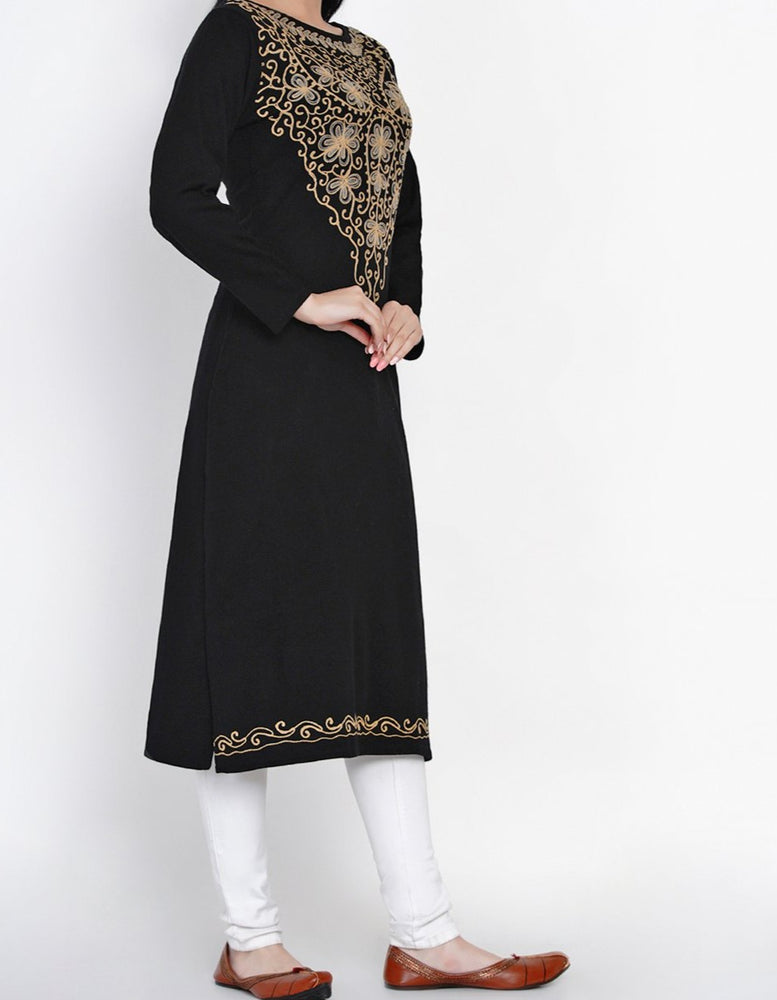 Women Acrylic Black Aari Embroidery Winter Kurta-Kurta-Fabnest