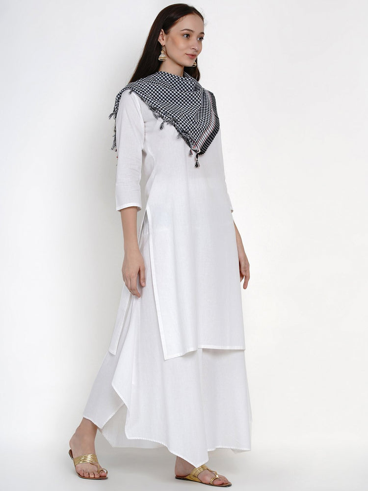 Load image into Gallery viewer, Fabnest Womens Cotton White Basic Kurta With Black And White Check Cotton Scarf-Kurta Set-Fabnest