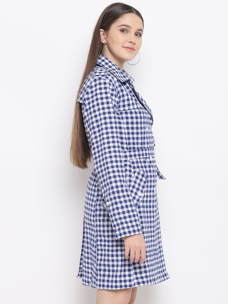 Load image into Gallery viewer, Fabnest Womens Cotton Handloom Two-Tone Blue&White Check Long Trench Coat-Coat-Fabnest