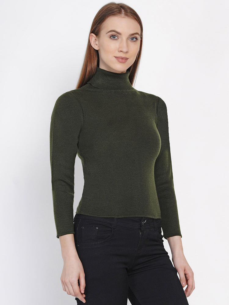Load image into Gallery viewer, Women Winter Acrylic High Neck Olive Green Sweater-Sweaters-Fabnest