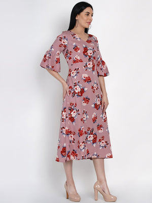 Load image into Gallery viewer, Fabnest Womens Floral Print A Line Dress With Flounced Sleeves-Dress-Fabnest