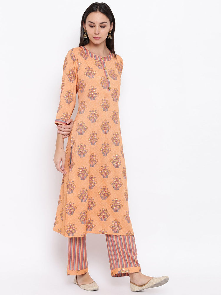 Load image into Gallery viewer, Fabnest womens rayon light orange printed pant and kurta set with round neck and wooden buttons with stripe pants.-Kurta Set-Fabnest