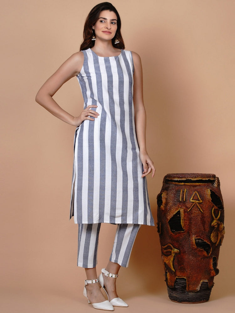 Cotton white and blue stripe sleeveless straight kurta-Kurtas-Fabnest